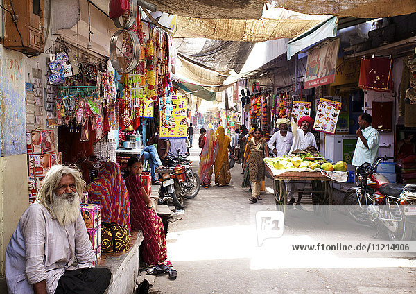 Locals shopping in rural Rajasthani village bazaar