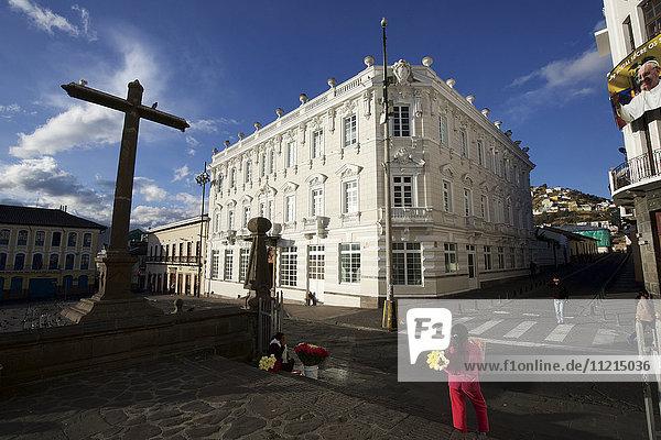 Exterior view of colonial Casa Gangotena Hotel on Plaza San Fransisco  Quito