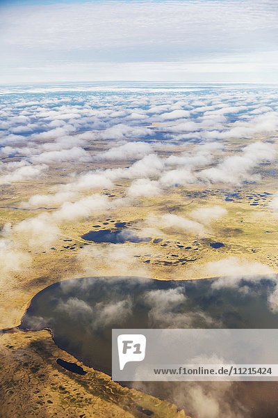 'Aerial view of ponds dotting the tundra landscape  thin clouds above the land; Barrow  North Slope  Alaska  United States of America'
