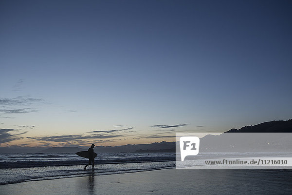 'Man walking on beach with surf board; San Luis Obispo  California  United States of America'