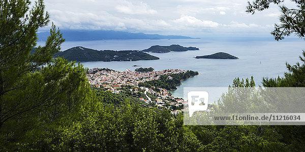 'View of the Aegean Sea and a village on the coast of a greek island; Skiathos  Greece'