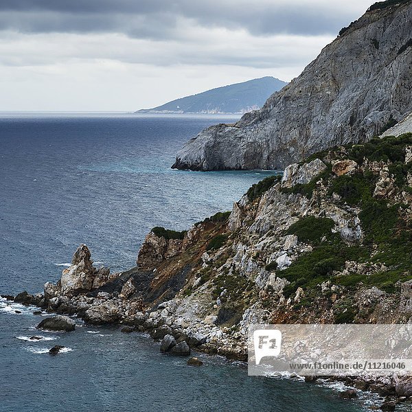 'Rugged coastline of a greek island and the Aegean sea; Skiathos  Greece'