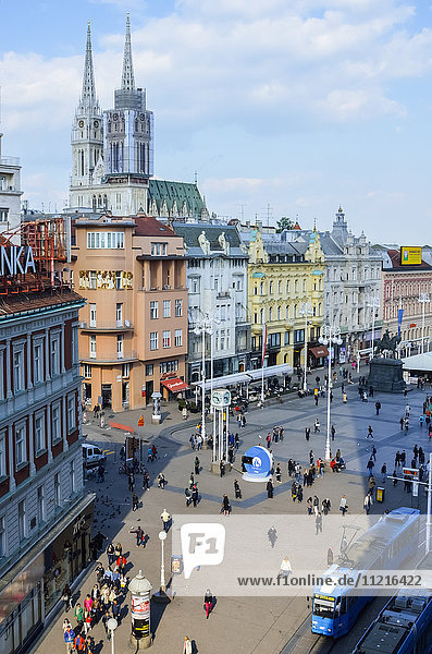 View of Ban Jelacic Square from a vantage point; Zagreb  Croatia
