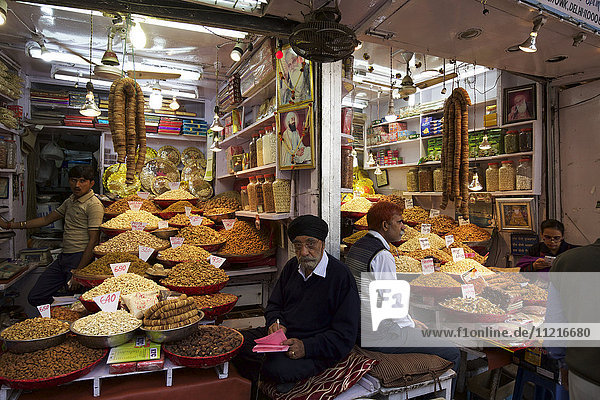 Food goods on sale in the spice market of Chandi Chowk Old Delhi