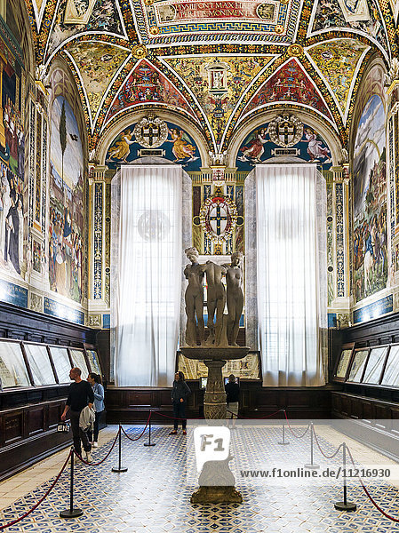 Tourists view exhibits on a wall in a room with colourful  ornate facade; Siena  Italy