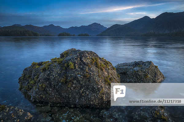 'Late day light over the body of water called the Bay of Islands; Haida Gwaii  British Columbia  Canada'