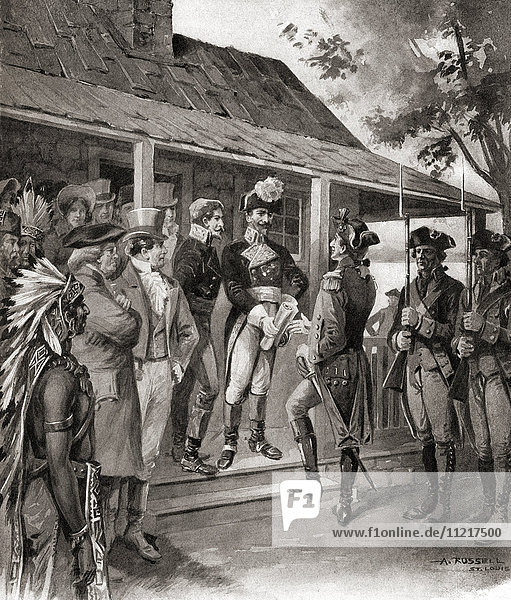 The formal transfer of ownership of Upper Louisiana from Spain to the French First Republic  and then from France to the United States  March 10  1804. This act finalized the Louisiana Purchase  the acquisition of the Louisiana territory (828 000 square miles) by the United States from France in 1803. From The History of Our Country  published 1900.