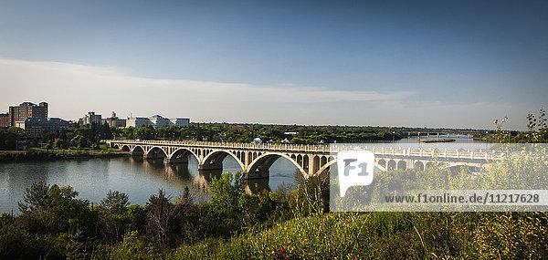 'Bridge crossing the South Saskatchewan River; Saskatoon  Saskatchewan  Canada'