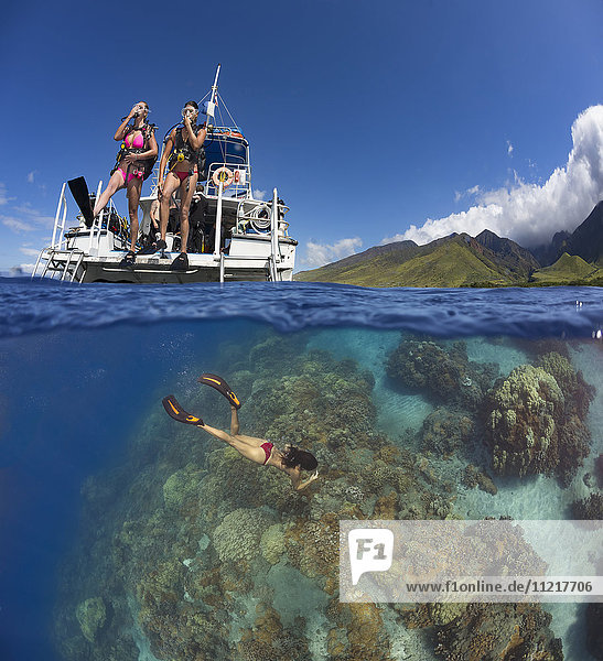 A split scene of divers stepping off a dive boat into the Pacific Ocean with a snorkler below on the reef  out from Ukumehame; Maui  Hawaii  United States of America