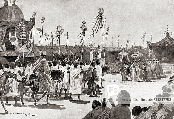 Faxian aka Fa-Hien and Fa-hsien  337 – c. 422. Chinese Buddhist monk who travelled by foot from China to India  depicted here on his return to China after fifteen years. From Hutchinson's History of the Nations  published 1915.