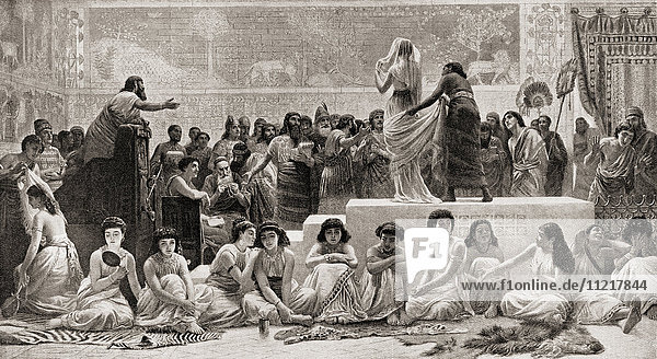 The sale of female slaves in Babylon in the 18th century BC. From Hutchinson's History of the Nations  published 1915.