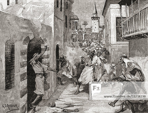 The massacre of Maronite Christians by Druze and Sunni Muslim paramilitary groups in Damascus  Syria during the 1860 Mount Lebanon civil war. From The Century Edition of Cassell's History of England  published c. 1900