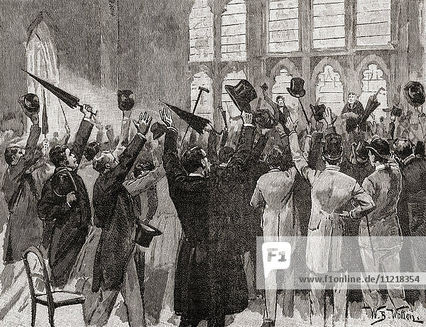 'A meeting of Jingoes in Guildhall  London  England 1877  singing the song which gave birth to the term Jingoism  ''We don't want to fight but by Jingo if we do  We've got the ships  we've got the men  we've got the money too''. A pugnacious attitude against the Russians was running high at this time in England during the Russo-Turkish War. From The Century Edition of Cassell's History of England  published c. 1900'