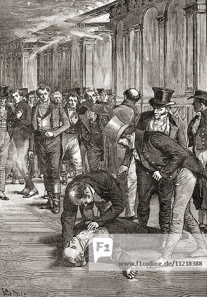 The assassination of Spencer Perceval in The House of Commons  London  England in 1812. Spencer Perceval  1762 – 1812. Prime Minister of the United Kingdom. From The Century Edition of Cassell's History of England  published c. 1900