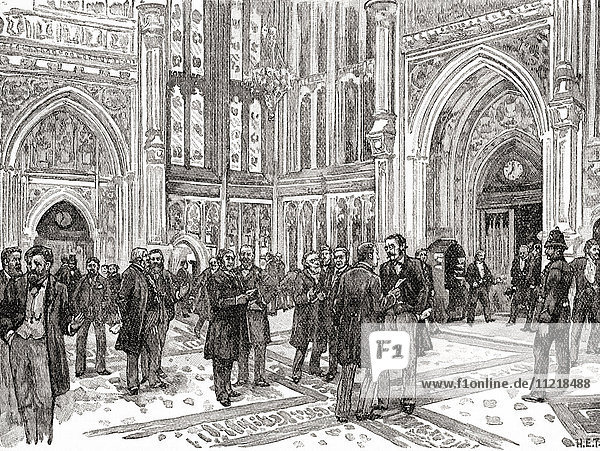 The member's lobby  The House of Commons  Westminster Palace  London  England in the 19th century. From The Century Edition of Cassell's History of England  published c. 1900