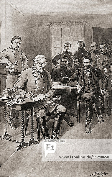 Surrender of Robert E. Lee to General Ulysses S. Grant  Appomattox Court House Virginia  on April 9  1865  thus ending the American Civil War. From The History of our Country  published1900.