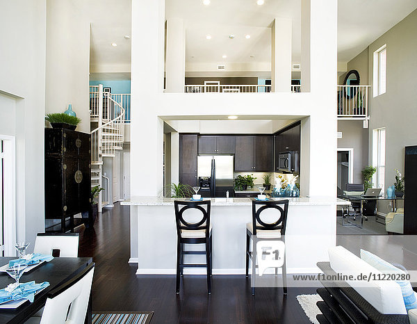 Great room in contemporary house