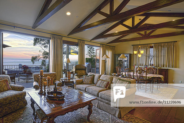 Great room with large windows at sunset  Laguna Beach  California  USA