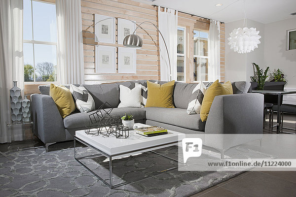 Sectional sofa and coffee table in contemporary living room