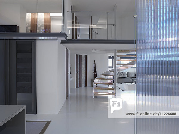 Interior of modern home with winding staircase