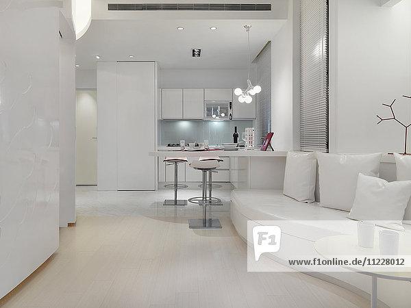 Bright white modern interior