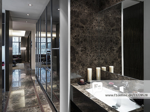 Modern bathroom with marble countertops