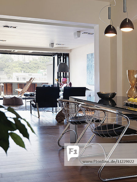Dining table in modern home