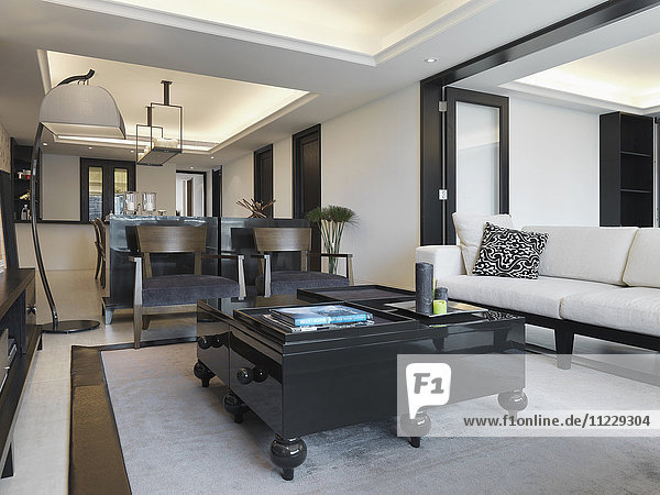 Large bulky coffee table in modern living room