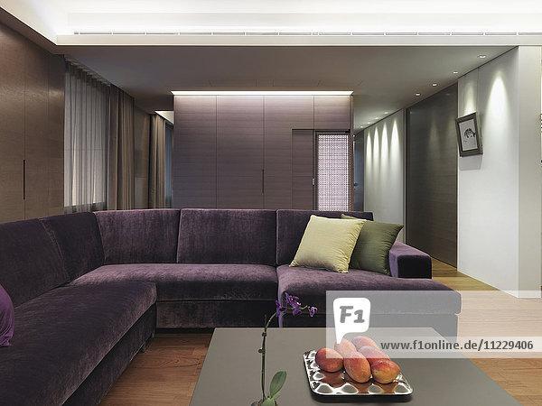 Purple sofa in modern interior