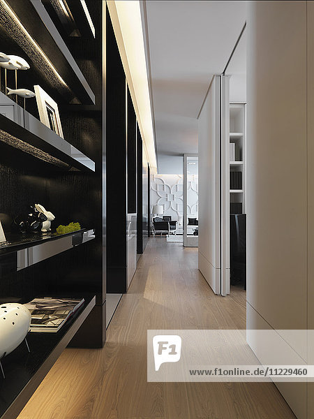 Hardwood floors in hallway of modern home