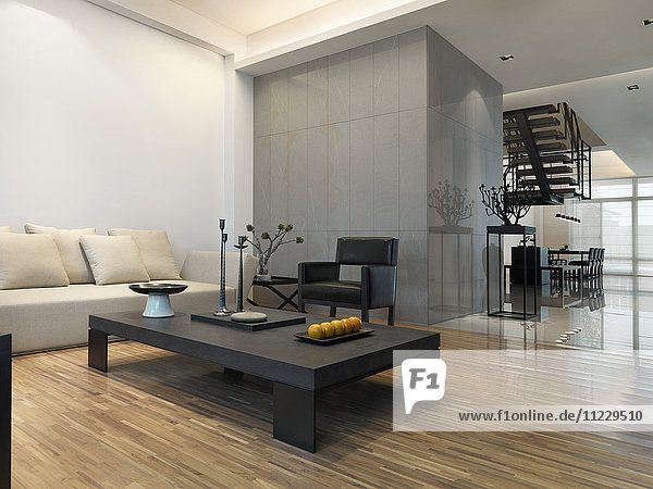 Living room with hardwood floor in modern home