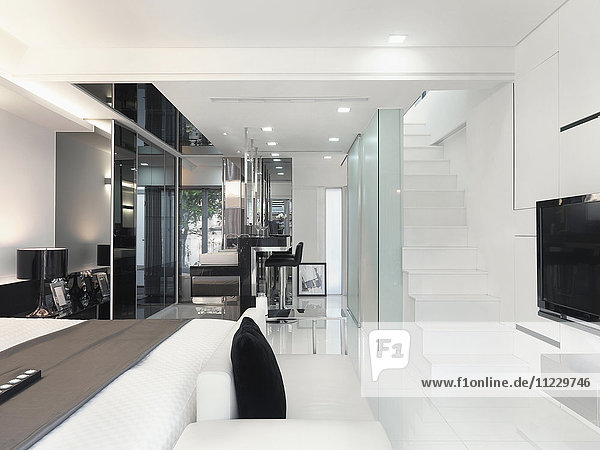 Mostly white interior of modern home