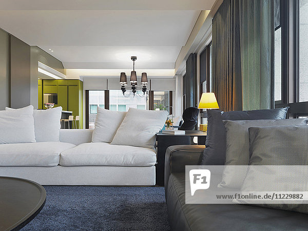 Detail sofas in living in modern home