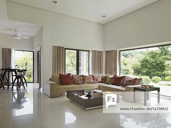 Corner sofa in modern living room
