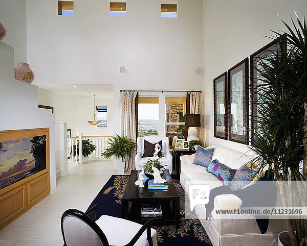 Large White Living Room with Bright Accents