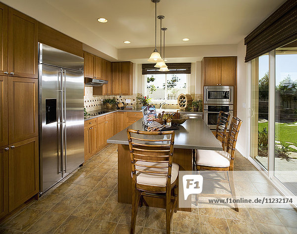 Contemporary Kitchen with Large Island