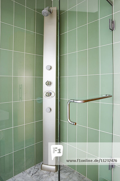 Modern Shower with Green Tile