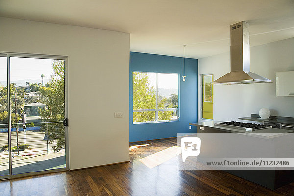 Interior of Empty Modern Kitchen and Living Room