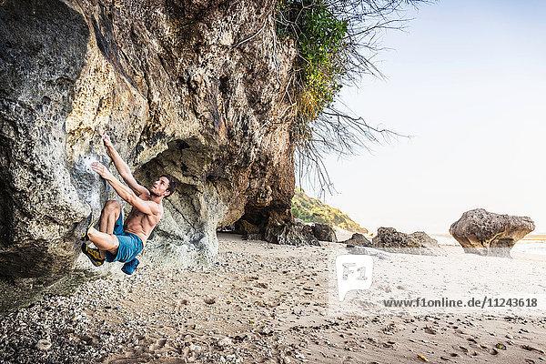 Male free climber climbing rock face on Pandawa Beach  Bali  Indonesia