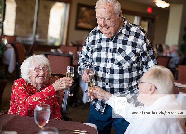 Three senior adults in restaurant  holding champagne glasses  making toast