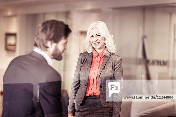 Männliche und weibliche Geschäftskollegen im Gespräch