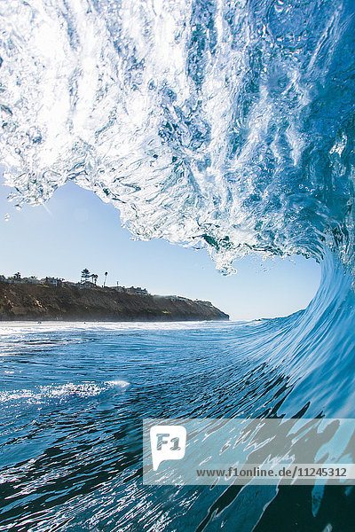 View through crest of wave  Encinitas  California  USA