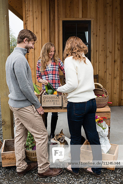 Young couple buying fruit and vegetables from organic farm shop