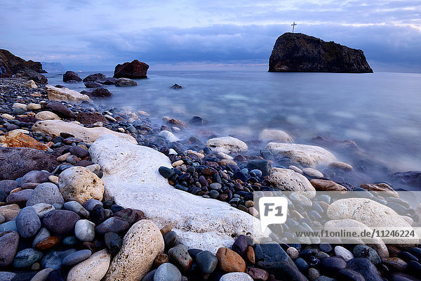 Rock formation from Yashmoviy Beach (Fiolent Beach) near Sevastopol  Crimea  Ukraine