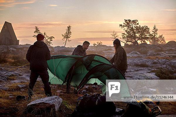 Wanderer  die bei Sonnenuntergang ihr Zelt aufschlagen  Sarkitunturi  Lappland  Finnland