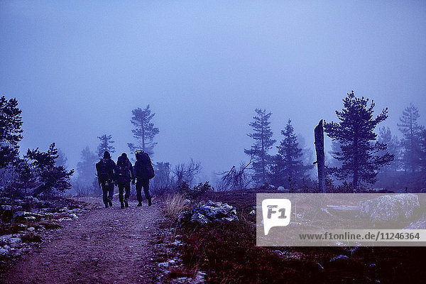 Wanderer durchqueren felsiges Feld in der Dämmerung  Sarkitunturi  Lappland  Finnland