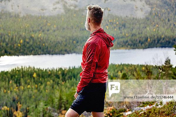 Wanderer geniesst Aussicht auf steilem Hügel  Kesankitunturi  Lappland  Finnland