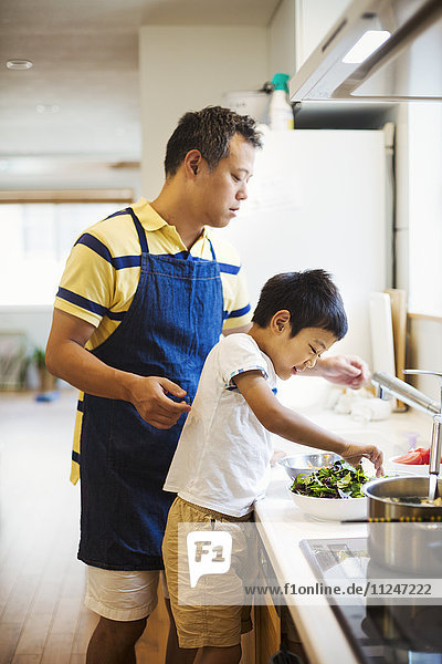 Family home. A man in a blue apron preparing a meal with his son.