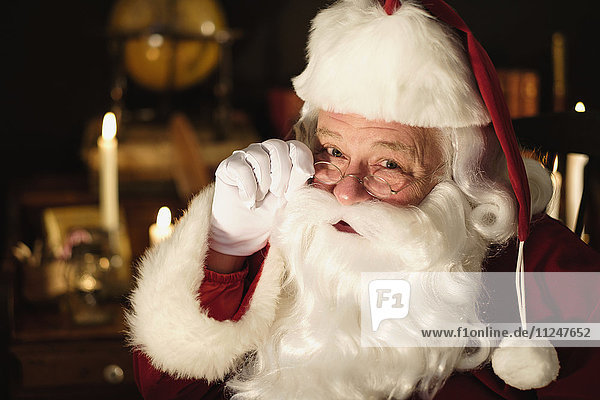 Portrait of Santa Claus wearing eyeglasses
