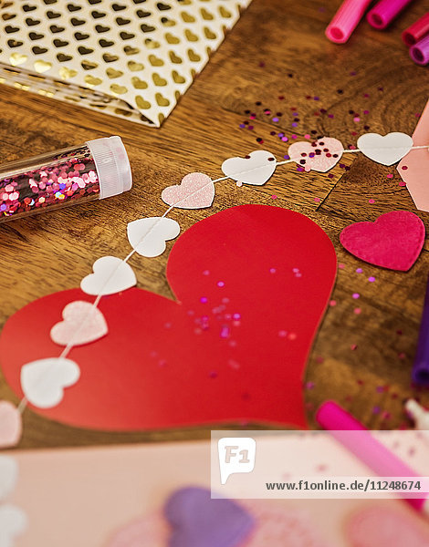 Decorations for Valentine's Day on wooden table